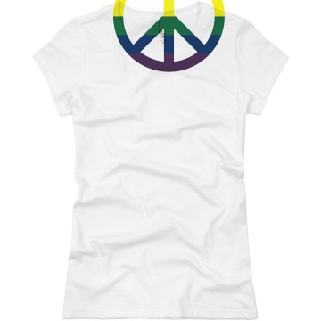 Gay Pride Peace Symbol Junior Fit Basic Bella Favorite Tee
