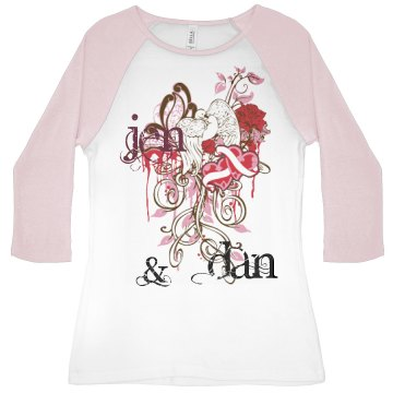 Love Tattoo Design Junior Fit Bella 1x1 Rib 3/4 Sleeve Raglan Tee