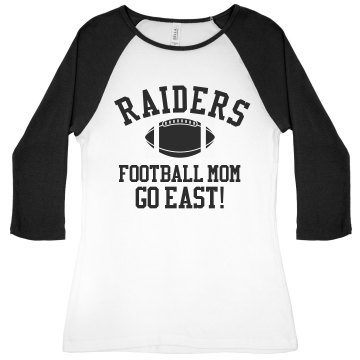 Raiders Football Mom Junior Fit Bella 1x1 Rib 3/4 Sleeve Raglan Tee