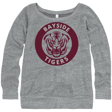 Bayside Off The Shoulder Junior Fit Bella Triblend Slouchy Wideneck Sweatshirt
