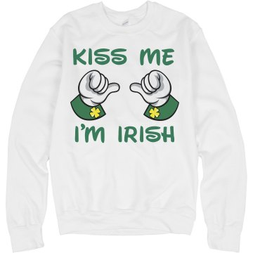Kiss Me I'm Irish Pinup Junior Fit Bella 1x1 Rib Ringer Tee