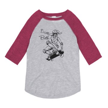 Beth Loves Skateboarding Youth Anvil Ringer Tee