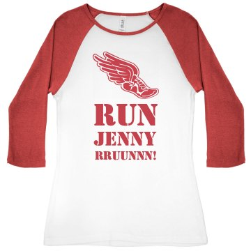Run Jenny Track Junior Fit Bella 1x1 Rib 3/4 Sleeve Raglan Tee