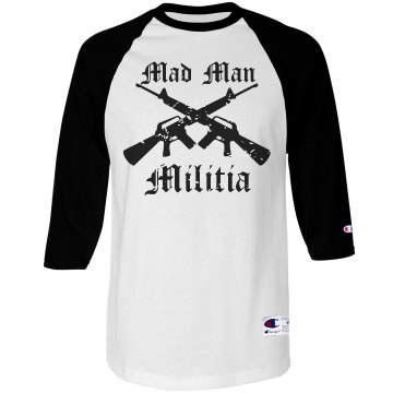 Mad Man Militia Unisex Anvil 3/4 Sleeve Raglan Baseball Tee