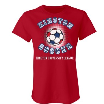 Kinston Soccer w&#x2F; Back Junior Fit Bella Crewneck Jersey Tee