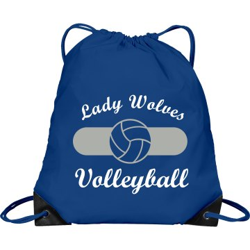 Lady Wolves Volleyball Port &amp; Company Drawstring Cinch Bag