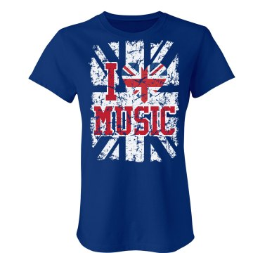 I UK Heart Music Junior Fit Bella Crewneck Jersey Tee