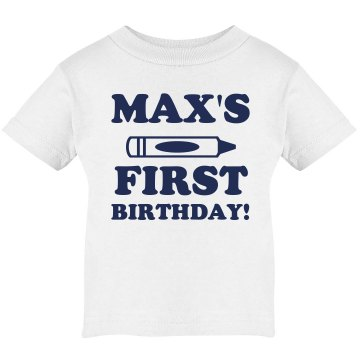 Max's 1st Birthday Infant Bella Baby Long Sleeve Lap Shoulder Tee