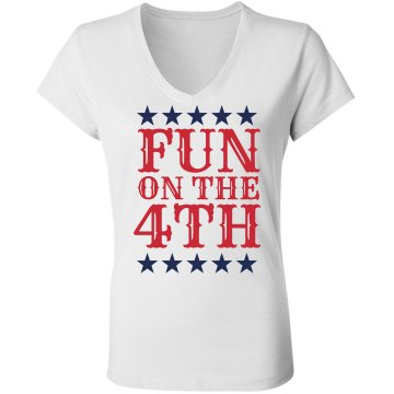 Fun on July 4th Junior Fit Bella Sheer Longer Length Rib V-Neck Tee