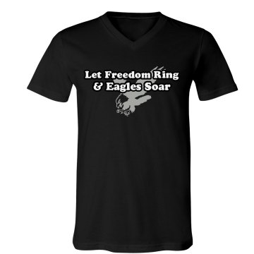 Freedom Ring Eagles Soar Unisex Canvas V-Neck Jersey Tee