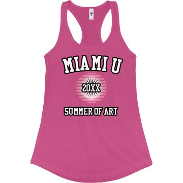 Miami U Art Camp Junior Fit Bella Sheer Longer Length Rib Racerback Tank Top