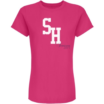 School Initials Senior Junior Fit Bella Double V Sheer Jersey Tee