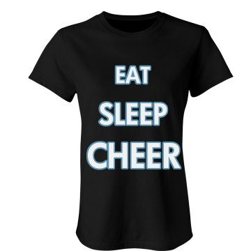 Eat Sleep Cheer All Caps Junior Fit Bella Sheer Longer Length Rib Tee