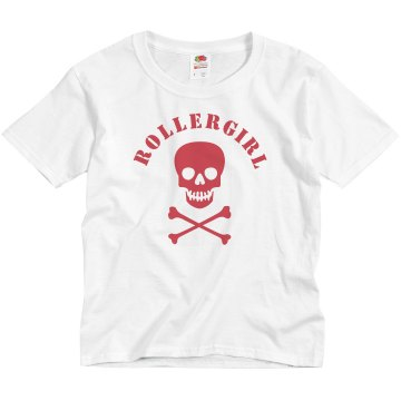 Rollergirl Skull Youth Bella Girl 1x1 Rib Cap Sleeve Tee