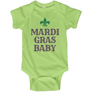 Mardi Gras Baby Infant Rabbit Skins Lap Shoulder Creeper