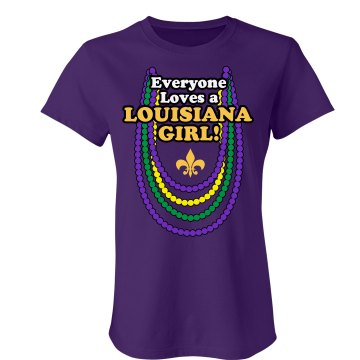 Louisiana Girl Junior Fit Bella 1x1 Rib Ringer Tee