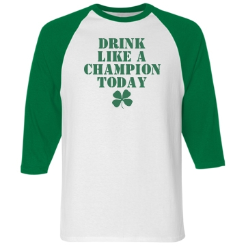 Drinking Champion Unisex Anvil 3/4 Sleeve Raglan Baseball Tee