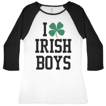 I Love Irish Boys Junior Fit Bella 1x1 Rib 3/4 Sleeve Raglan Tee