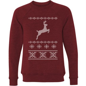 Christmas Deer Sweater Unisex Canvas Triblend Crew