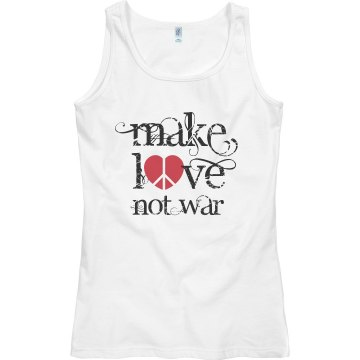 Make Love Not War Junior Fit Bella Sheer Longer Length Rib Tank Top