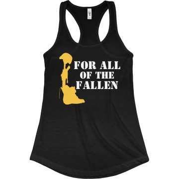 For the Fallen Soldiers Junior Fit Bella Sheer Longer Length Rib Racerback Tank Top