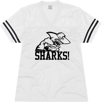 Goooo Sharks! Junior Fit Soffe Mesh Football Jersey