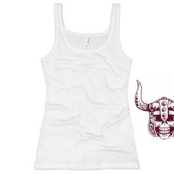 Distorted Horned Skull Junior Fit Basic Bella 2x1 Rib Tank Top