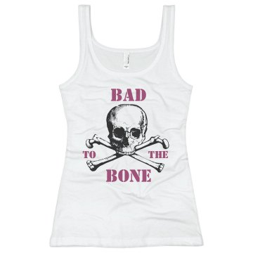 Bad To The Bone Skull Junior Fit Basic Bella 2x1 Rib Tank Top