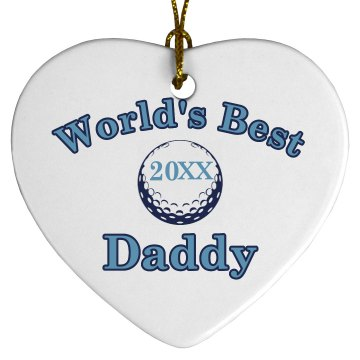 Daddy Ornament Design Porcelain Heart Ornament