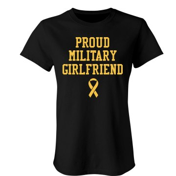 Proud Army Girlfriend Junior Fit Bella Sheer Longer Length Rib Tee