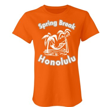 Spring Break Honolulu Junior Fit Bella Crewneck Jersey Tee