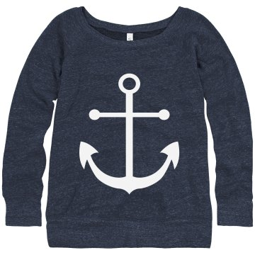 Anchor Slouchy Sweatshirt Junior Fit Bella Triblend Slouchy Wideneck Sweatshirt