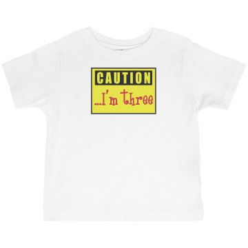Caution Kid's Birthday Toddler Basic Gildan Ultra Cotton Crew Neck Tee