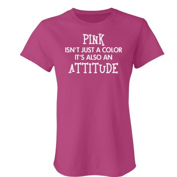 Pink Is An Attitude Junior Fit Bella Sheer Longer Length Rib Tee