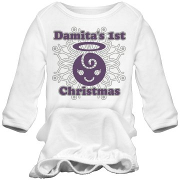 Damita's 1st Christmas Infant Bella Baby 1x1 Rib Long Sleeve Sleeper