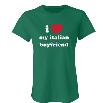 I Love My Boyfriend Junior Fit Bella Crewneck Jersey Tee