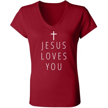 Jesus Loves You Junior Fit Bella Sheer Longer Length Rib V-Neck Tee 
