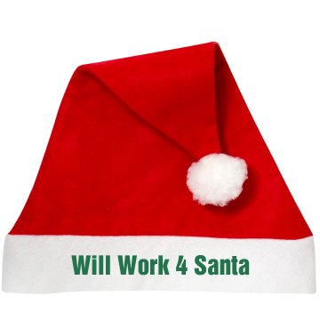 Will Work 4 Santa Personalized Santa Hat