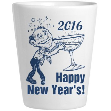Happy New Year's Shot Ceramic Shotglass