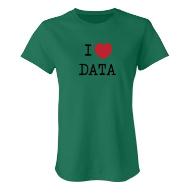 I Love Data Junior Fit Bella Crewneck Jersey Tee