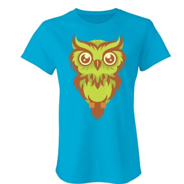 Owl Graphic Tee Junior Fit Bella Crewneck Jersey Tee