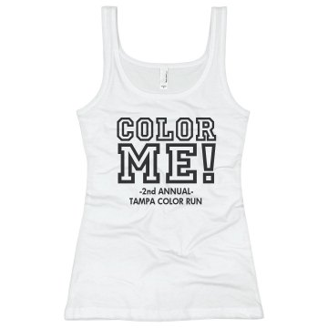 Color Me Color Run Junior Fit Basic Bella 2x1 Rib Tank Top