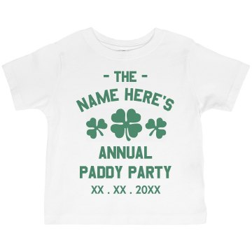 St. Paddy Party Tee Toddler American Apparel 3&#x2F;4 Sleeve Baseball Tee