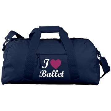 I Heart Ballet Port & Company Large Square Duffel Bag