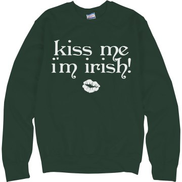 Kiss Me I'm Irish Junior Fit Bella 1x1 Rib Ringer Tee