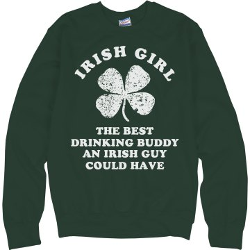 Irish Girl Drinking Buddy Junior Fit Bella 1x1 Rib Ringer Tee