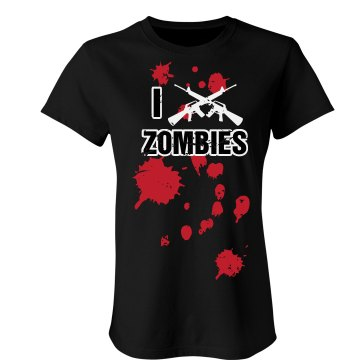 I Shoot Zombies Junior Fit Bella Sheer Longer Length Rib Tee