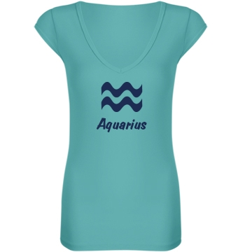 Aquarius V-Neck Junior Fit Bella Sheer Longer Length Rib V-Neck Tee