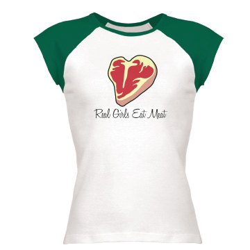 Real Girls Eat Meat Junior Fit Bella 1x1 Rib Ringer Tee