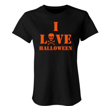 I Love Halloween Junior Fit Bella Sheer Longer Length Rib Tee